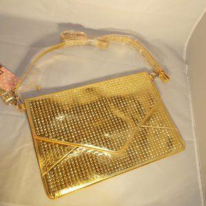 "NWT Shinny gold bag purse by Melie Blanco 9""x13"""